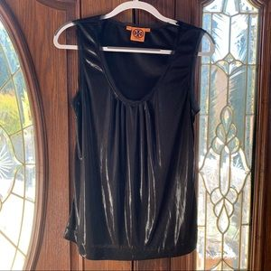 Tory Burch Shiny/Metallic Black Blouse M